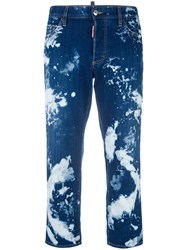 Dsquared2 Bleached Straight Jeans Blue