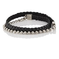 Title Of Work Leather Cord And Ball Chain Double Wrap Bracelet Black
