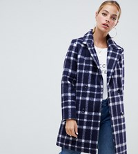 Missguided Petite Wool Coat In Navy Check