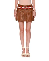 Valentino Knotted Fringe Leather Mini Skirt Tan