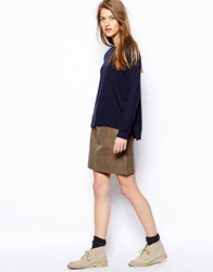 Le Mont St Michel Leather Skirt With Button Detail Kaki