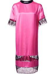 Givenchy Lace Panel T Shirt Dress Pink And Purple
