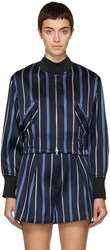 3.1 Phillip Lim Navy Striped Jacquard Bomber Jacket