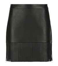Reiss Hailee Leather Fringe Skirt Female Black