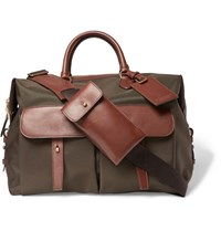 Ralph Lauren Purple Label Leather Trimmed Canvas Holdall Green