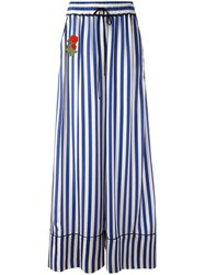 Off White Striped Flared Pants Blue