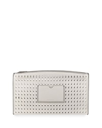 Reed Krakoff Atlantique Perforated Leather Zip Pouch White