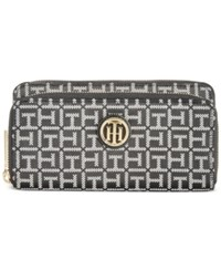 Tommy Hilfiger Th Signature Monogram Jaquard Large Double Zip Wallet Black White