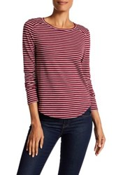 Melrose And Market Long Sleeve Striped Crew Neck Tee Purple