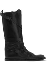 Ann Demeulemeester Buckled Leather Knee Boots Black