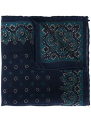 Canali Patterned Pocket Handkerchief Blue