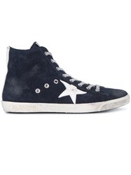 Golden Goose Deluxe Brand Francy High Top Sneakers Women Cotton Leather Suede Rubber 41 Blue