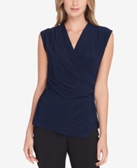 Tahari By Arthur S. Levine Asl Ruched Surplice Top Navy
