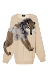 Alena Akhmadullina Wolf Fur Embroidered Cashmere Sweater Neutral