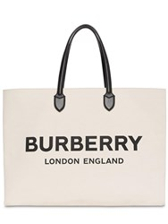 Burberry Logo Cotton Tote Bag Natural