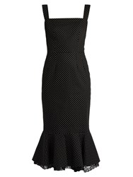 Dolce And Gabbana Polka Dot Print Stretch Cotton Dress Black Multi