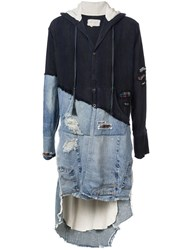Greg Lauren Denim Panelled Hooded Jacket Black