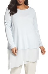 Eileen Fisher Plus Size Women's Stretch Silk Jersey And Crepe Tunic Rain