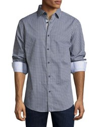 English Laundry Gingham Button Front Sport Shirt Navy