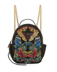 Alexander Mcqueen Butterfly Small Chain Backpack Black Multi Multi Colored