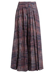 Stella Jean High Rise Pleated Checked Culottes Navy Multi