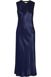 Dkny Merino Wool Trimmed Satin Midi Dress Navy