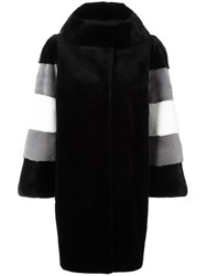 Liska Striped Mink Fur Coat Black