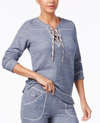 Lucky Brand French Terry Lace Up Pullover Pajama Top Navy Heather