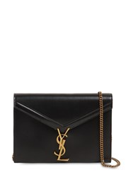Saint Laurent Cassandra Leather Chain Wallet Bag Black