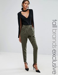 Lavish Alice Tall Tapered Trouser With Double Buckle Detail Khaki Green