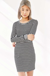 Silence And Noise Silence Noise Striped Long Sleeve Bodycon Dress Black And White