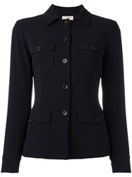 Alberto Biani Buttoned Fitted Jacket Blue