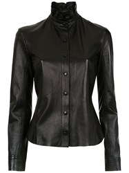 Spacenk Nk High Neck Leather Shirt Black