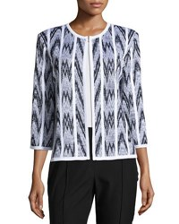 Misook Chevron Print Straight Fit Jacket White Black