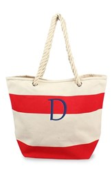 Cathy's Concepts Monogram Stripe Canvas Tote Red Red D
