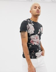 Religion Muscle Fit T Shirt With Roses Print Washed Black