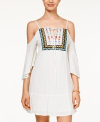 American Rag Cold Shoulder Embroidered Dress Only At Macy's White