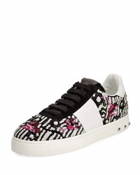 Valentino Sequined Low Top Sneaker White Black