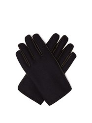 Alexander Mcqueen Cashmere And Leather Gloves Navy