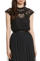 Needle And Thread Women's Daisy Sequin Embroidered Top Washed Black