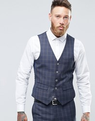 Harry Brown Windowpane Check Slim Fit Waistcoat Blue