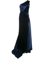 Tadashi Shoji Velvet And Satin One Shoulder Evening Gown 60