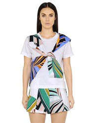 Emilio Pucci Embellished Cotton Jersey And Poplin Top