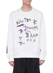 Rochambeau X Aaron Curry Graffiti Embroidered Hoodie White