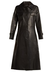 Nili Lotan Point Collar Leather Trench Coat Black