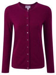 Pure Collection Crew Neck Cashmere Cardigan Rich Berry