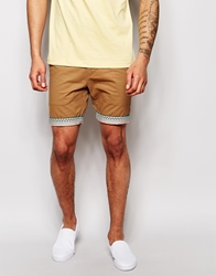 Bellfield Chino Shorts With Aztec Print Turn Up Tobacco