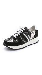 Carven Print Panel Suede Sneakers Black White