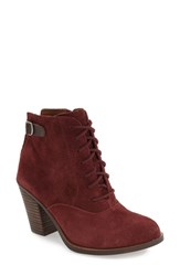 Lucky Brand Women's 'Echoh' Lace Up Bootie Beet Java Suede