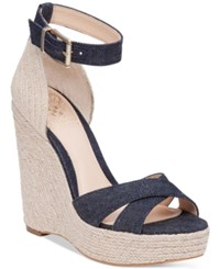 Vince Camuto Maurita Platform Espadrille Wedge Sandals Women's Shoes Dark Indigo Natural